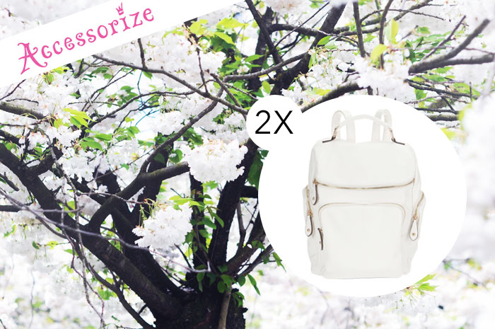accessorize, white backpack